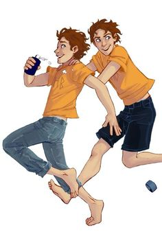 Travis and Connor Stoll - they're like the Fred and George (Harry Potter) of the Percy Jackson world