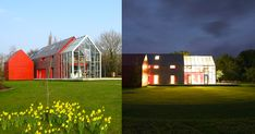 Photos © Alex de Rijke / GIF by Gasoline Station Appearing as an oversized red barn, architecture and design studio dRMM's Sliding House has a much more complex facade than its doppleganger's A-frame design. The project encompasses three separate buildings (house, garage, and guest