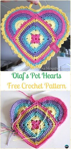 Crochet Olaf's Pot Hearts Potholder Free Pattern-Crochet Heart Applique Free Patterns