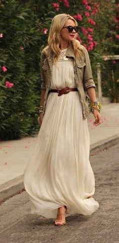 long white maxi, brown belt, khaki jacket
