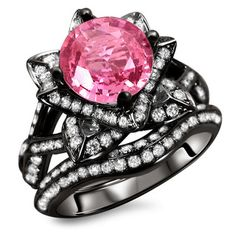 14k Black Gold 2 3/4ct Certified Pink Sapphire and Diamond Ring Set (G, SI1-SI2) | Overstock.com Shopping - Top Rated Diamond Rings