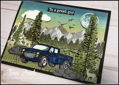 """The Serene Stamper: Build a Scene Card with """"Mountain Air"""" & """"Pedal to the Metal"""" Stamp Sets - VIDEO Masculine Birthday Cards, Birthday Cards For Men, Man Birthday, Masculine Cards, Stamping Up Cards, Metal Stamping, Stamp Sets, Homemade Cards, Cardmaking"""