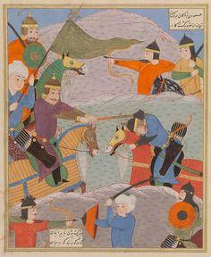 Bizhan slays Nastihan Ferdowsi, Shahnameh Turkman: Lahijan, 1493–1494  Patron: Soltan 'Ali Mirza Scribe: Salek b. Sa'id  Opaque watercolour, brush-gold and ink on paper  Private Collection