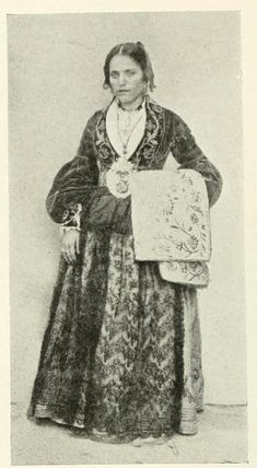 """The image was taken from the book, """"Peasant Art in Italy"""" edited by Charles Holme (London: The Studio, 1913). Caption underneath the image says: """"A peasant costume from Palermo, Sicily."""""""