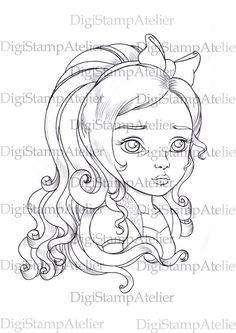Apple White Girl. INSTANT DOWNLOAD Digital Digi Stamps.