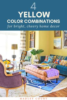 Yellow and blue are a dream match! Wonder how to add the yellow aesthetic in your home decor? Learn how pair it with other colors, such as yellow and purple, yellow and blue, and more. Yellow paint, yellow walls, and even yellow wallpaper are becoming more popular. Learn how to incorporate yellow in your interior design on the Hadley Court blog.  #yellowaesthetic #yellowpaint