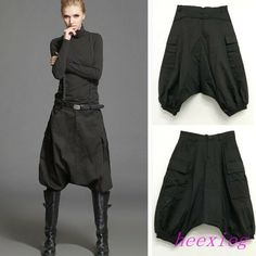 new Women Summer Casual Pant Short Fashion Harem Pants Trousers Collapse CottonNew Women Casual Skirt Pants Short Harem Trousers Cotton Autumn Black Rock Pants in Clothes, Shoes & Accessories, Women's Clothing, TrousersRetro Womens Loose Slacks Tapered Po Sarouel Pants, Harem Trousers, Skirt Pants, Trousers Women, Black Harem Pants, Black Shorts Fashion, Black Women Fashion, Look Fashion, Lolita Fashion