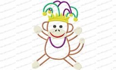 Mardi Gras Sock Monkey Applique Embroidery Design looks like he's ready to get into some trouble! He's the first of our series of Holiday Sock Monkeys.