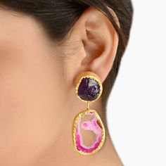 Gold Tone Fashion Dangle earrings studded with Purple Druzy Stone and Pink Agate.Absolutely Brand New. Latest trend and very popular this season.Measures approx : 40 x 20mm OR 1 1/2\
