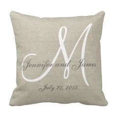 Beige Linen Gray White Monogram Wedding Keepsake Throw Pillow Take a moment to look at this accent pillow for your home. You won't find this at any store at the mall. Personalized Pillows, Custom Pillows, Decorative Throw Pillows, Scatter Cushions, Personalized Gifts, Monogram Wedding, Monogram Initials, Monogram Pillows, Accent Pillows