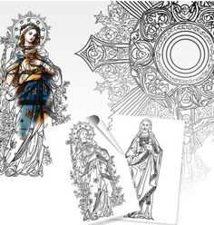 Dominic's Catholic coloring books are an awesome way to teach children about the Catholic Faith. He has drawn beautiful pictures of the saints and Catholic themes and this page has a link at the bottom to his free samples (about 12). There's also a link to St. John's Church in Front Royal where they have beautiful Catholic coloring pages. Enjoy!