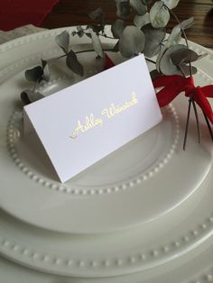 Gold foil place card/escort card/formal script/ holiday place card/wedding menu/wedding placecard/wedding place setting/place card by CatePaperCo on Etsy https://www.etsy.com/listing/476631662/gold-foil-place-cardescort-cardformal