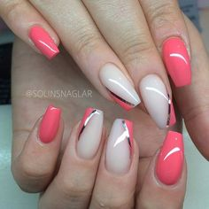 Long pink nails with some nice accents - LadyStyle