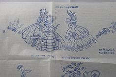Crinoline Lady 'Summer Saunter' - Vintage Iron-on Embroidery Transfer - Briggs by TheVintageSewingB on Etsy