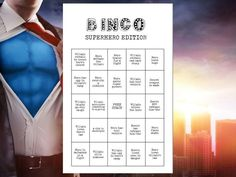 Superhero Movie Night Game TV 8 Bingo Cards Viewing Party Superhero Shows, Superhero Stories, Superhero Party, Movie Night Party, Game Night, Comic Movies, Marvel Movies, Spelling Bee Words, Your Next Movie