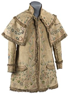 Polly Webber, J.M. Payne and  Nancy Riley (Cherokee), Embroidered coat, c. 1852-65; Minnesota Historical Society, St. Paul