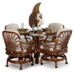 Fiji Rattan Rattan Dining Set w/Caster Chairs Wicker Dining Set, Dining Room, Dining Table, Tropical Furniture, Living Room Sets, Rattan, Outdoor Living, Bamboo, Chair