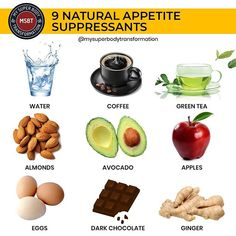 There are many weight loss products on the market. They work in different ways either by reducing your appetite blocking the absorption of certain nutrients or increasing the number of calories you burn. Natural herbs and plants that have been shown to help you eat less food by reducing appetite increasing feelings of fullness or reducing food cravings. My chart above shows the top 9 natural appetite suppressants that can help you lose weight. Which one is your favourite? Mine is water. Veda Sugar Cravings, Food Cravings, Natural Appetite Suppressant, Appetite Suppressants, Healthy Life, Healthy Eating, Healthy Food, Curb Appetite, Recipe T