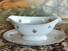 Gravy Boat Pickard China Floral Gravy Boat Gold Trim Attached