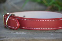 Red Leather Dog Collar Handmade Classic Traditional Leather Dog Collar
