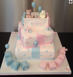 Christening, Baby Shower and Gender Reveal Cakes « SugarPerfection Torta Baby Shower, Twin Baby Shower Cake, Girl Shower Cake, Deco Baby Shower, Shower Bebe, Christening Cake Girls, Boy Baptism, Baptism Cakes, Baby Reveal Cakes