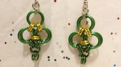 Not found anywhere else! Handmade chainmaille THREE LEAF CLOVER earrings! Just in time for St Patrick's Day! Get your Irish on!  https://www.etsy.com/listing/181242032/handmade-chainmaille-three-leaf-clover