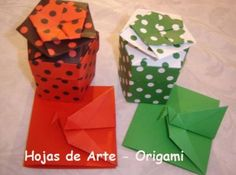 Hojas de Arte - ORIGAMI - Navidad - Christmas Origami Boxes, Crafts To Do, Container, Gift Wrapping, Christmas, Gifts, Xmas, Leaves, Art