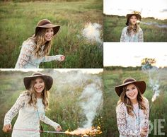 Sparklers. Girl with floppy hat. Second Baptist senior pictures taken by Joie Photographie