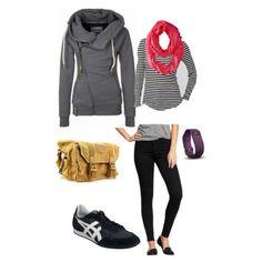 Long haul flight outfit. Rockstar stretch jeans, low profile sneakers, featherweight tee, bright scarf, naketano sweatshirt, bestek camera bag, Fitbit hr