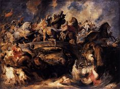 PETER PAUL RUBENS, 1577 - 1640: Battle of the Amazons. Oil on panel, 121 x 166.