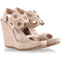 Pedro Garcia - VELDA Beige suede leather cut-out high heel wedge... (18.645 RUB) ❤ liked on Polyvore featuring shoes, sandals, beige, pedro garcia sandals, wedge heel sandals, beige sandals, suede shoes and summer shoes