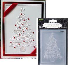 Christmas Tree Embossing Folder by Darice Holiday Tree Evergreen Tree Homemade Christmas Cards, Christmas Cards To Make, Xmas Cards, Homemade Cards, Handmade Christmas, Holiday Cards, Christmas Diy, Scrapbook Christmas Cards, Christmas Cactus