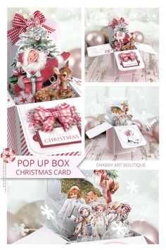 Pop up box Christmas card printable project from Shabby Art Boutique