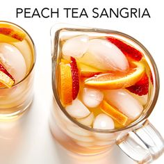 A fruity and delicious recipe for Peach Tea Sangria. #BiteMeMore