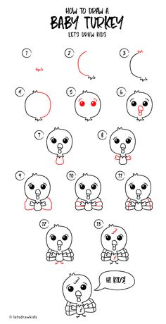 How to draw a Baby Turkey. Easy drawing, step by step, perfect for kids! Let's draw kids.