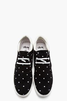 STUSSY DELUXE Black nubuck polka dot sneakers