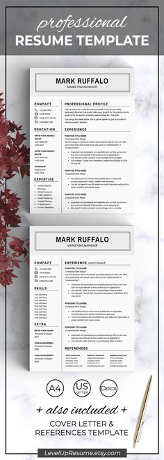 Teacher Resume Template - CV Template Word - Professional Resume