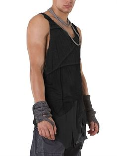 """DEMOBAZA - """"VEST HOBO LONG WAY"""" JERSEY TANK TOP - LoveLoveLove the asymmetry, deconstruction, the layering and the whole post-acopalyptic feel of this top."""