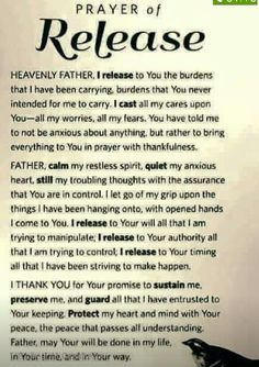 Dear Lord, I am releasing all of my worries to You. For You are better at knowing what to do. You are the master at making things better. My Savior. My Father. Thank you God, in Jesus Christ name, Amen. Power Of Prayer, My Prayer, Prayer Room, Daily Prayer, Daily Bread Prayer, Prayer For Enemies, Peace Prayer, Prayer For Husband, Healing Prayer