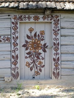 Painted Barn door  in Zalipie Poland