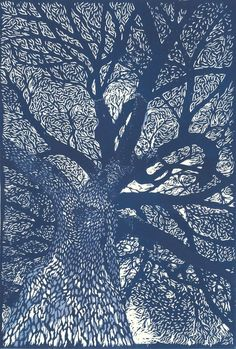 """""""Jardin des Plantes, Paris"""" linocut by Evelyne Bouchard This is a """"how to do a lino print"""" site! Gravure Illustration, Illustration Art, Illustrations, Art Graphique, Gustav Klimt, Pics Art, Tree Art, Painting & Drawing, Painting Collage"""