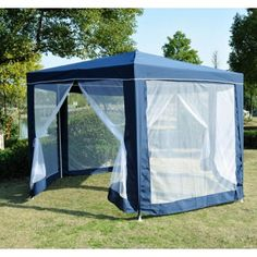 Buy 2x2x2m Hexagonal Garden Gazebo Canopy Party Tent Marquee With Mesh Panel Blue