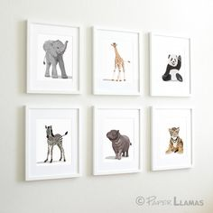 baby animal nursery art, modern minimalist nursery zoo jungle animal nursery art. childrens art, zebra, elephant, panda, nursery decor