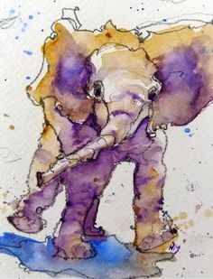 baby elephant - watercolour by Nora MacPhail
