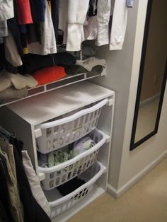 FABULOUS idea.  We usually have more than one laundry basket full of dirty and/or clean clothes, this is a great space saver!
