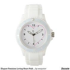 Elegant Feminine Loving Heart Pink Shadow Wrist Watches