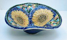 small handmade ceramic pottery sunflower bowl by VickieDumas, $30.00