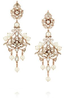 Percossi Papi Diego rose gold-plated, pearl and topaz earrings | NET-A-PORTER