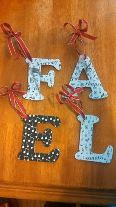 4 Wooden Letter Ornament with Black and White by ReclaimedbyRhodes, $7.50