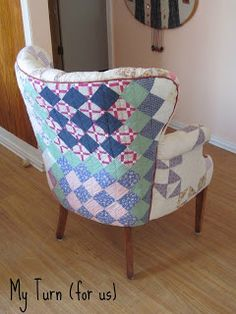 patchwork quilt chair, painted furniture, reupholster, Upholster a wing chair with old antique quilts